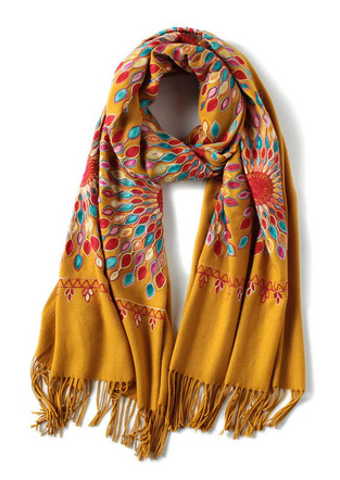 Embroidered Cashmere and Wool Yellow Scarf