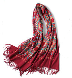 Embroidered Cashmere and Wool Red Scarf