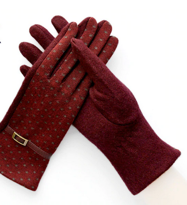 Embroidered Cashmere and Red Gloves