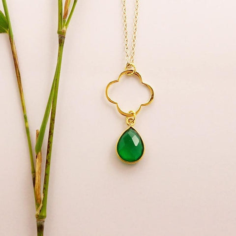 Emerald Clover Birthstone Necklace