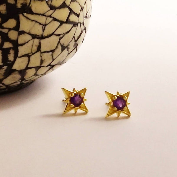 Amethyst Star Earrings