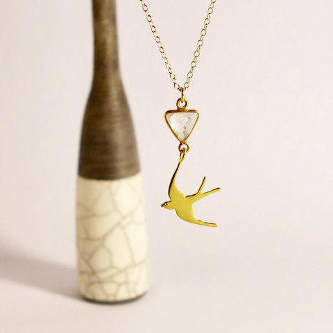Gold Swallow Moonstone Necklace