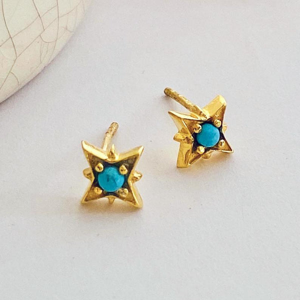 Gold Turquoise Star Earrings