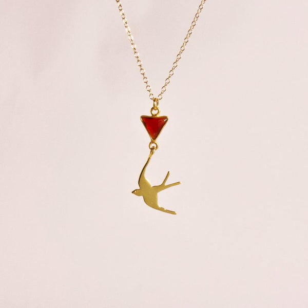 Gold Swallow Necklace, Garnet Necklace