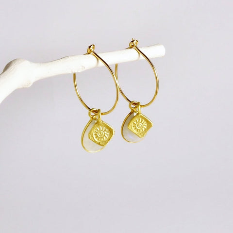 Gold Hoop Moonstone Earrings