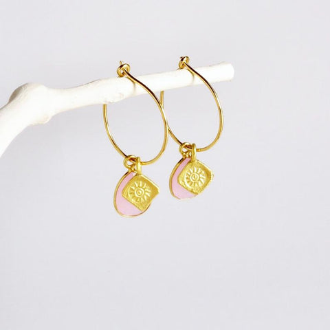 Gold Hoop Rose Quartz Earring