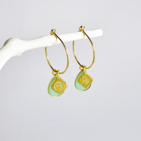 Gold Hoop Aqua Earrings