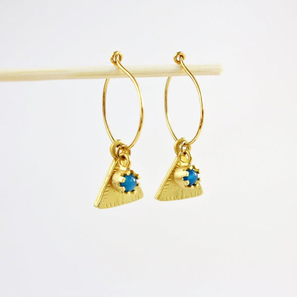Gold Hoop Turquoise charm Earrings