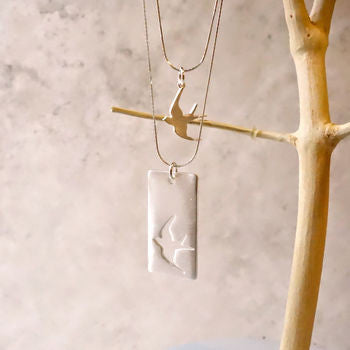 Mother and Daughter Silver Swallow Necklace Set
