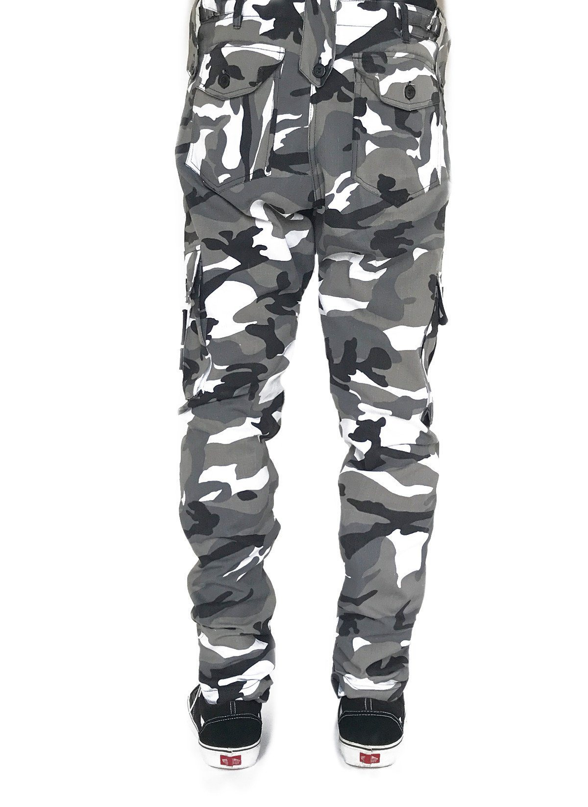 The Urban Black and White Camouflage Pants are designed for anyone looking for a comfortable, durable, cargo pant with lots of pockets. Urban camouflage is black, white dark grey and lighter grey camo.