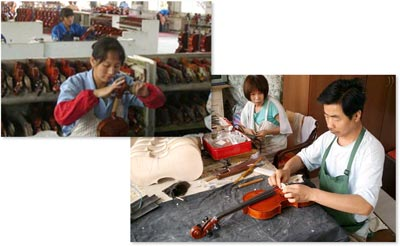 China has both large violin factories and small shops