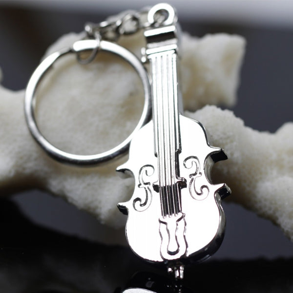 Silver Violin Key Chain