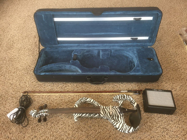 Pre-owned Zebra Electric Violin Package