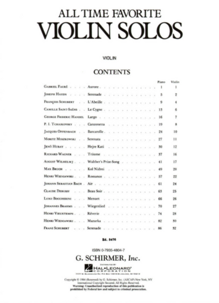 All Time Favorite Violin Solos - Violin and Piano - G Schirmer Edition