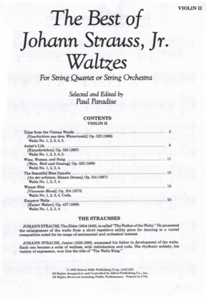 The Best of Johann Strauss, Jr. Waltzes- 2nd Violin