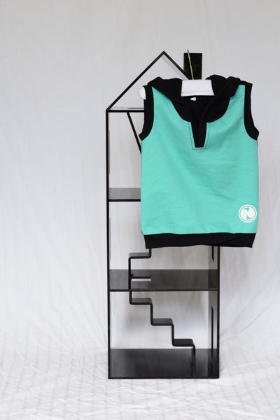 Black and Mint Sleeveless Hoodie