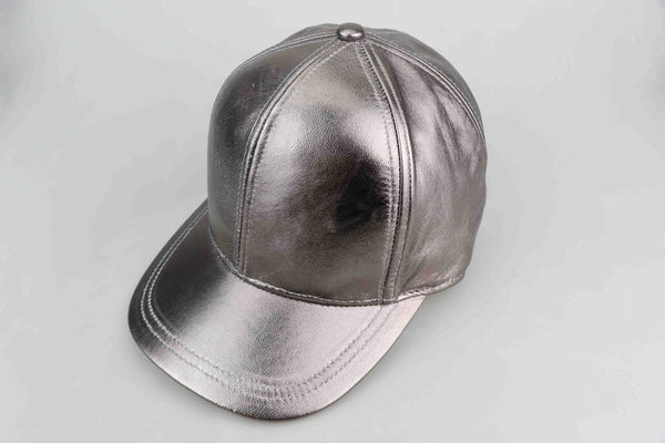 Gun Metal Grey Luxe Leather Cap - Adult