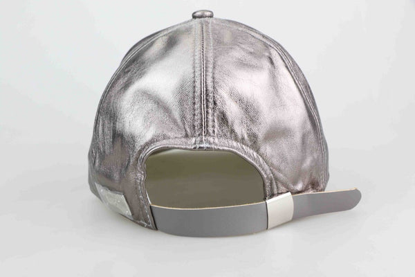 Gun Metal Grey Luxe Leather Cap - Child