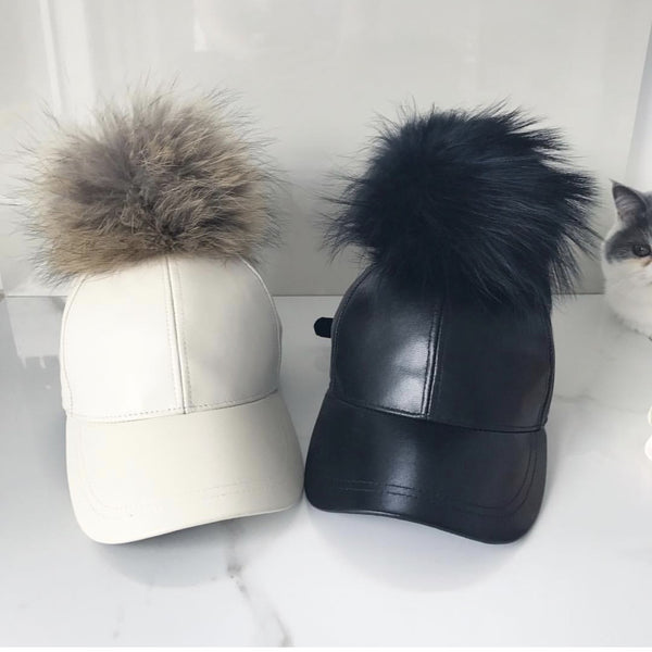 Faux Fur Pompom 100% leather caps Adults - PRE ORDERS