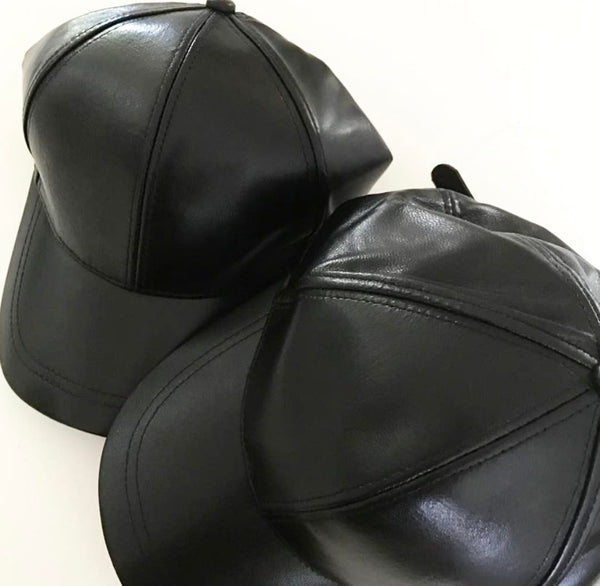 LIMITED ED Black Luxe Leather Adults Caps