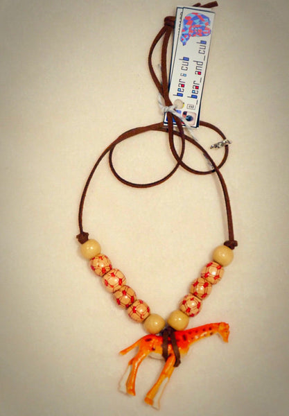 Animal Kingdom Necklace Giraffe with Timber Beads
