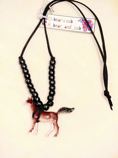 Animal Kingdom Necklace Horse with Black Beads