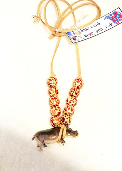 Animal Kingdom Necklace Hippo with Timber Beads