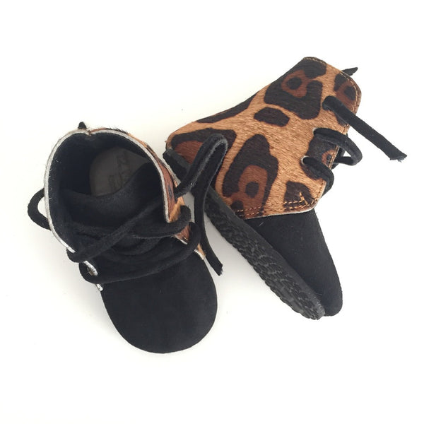 Genuine Leather Leopard Boots