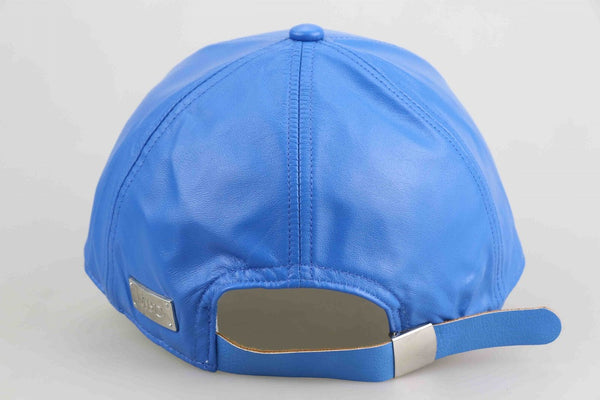 Electric Blue Luxe Leather Adult Cap