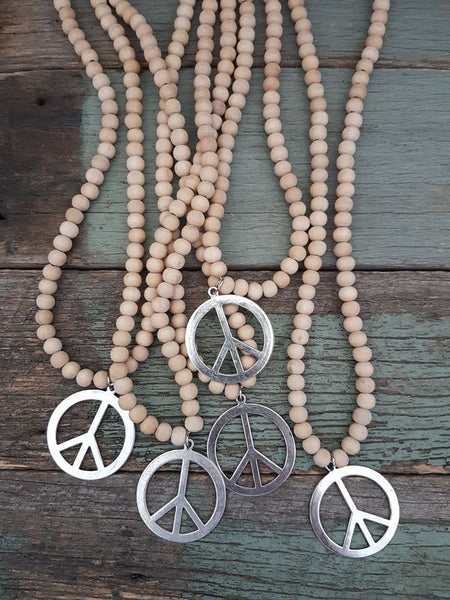 Raw Timber Necklace - Peace
