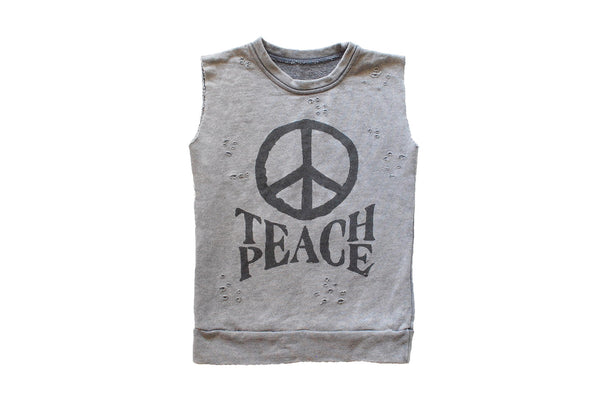 Teach Peace Distressed Muscle Sweater