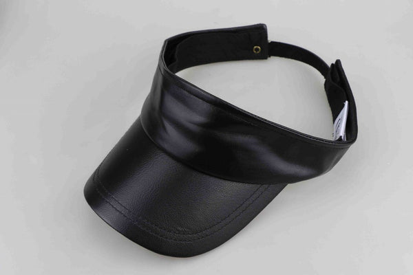 Black Luxe Leather Visors - Adults