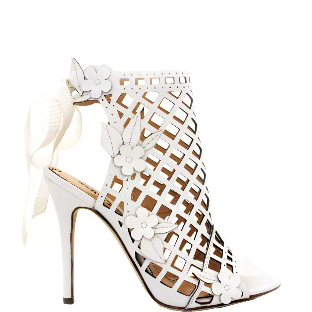 b586b12c9ce11d Marchesa Edith White Leather Cage Ankle Bootie – Marchesa Shoes and ...