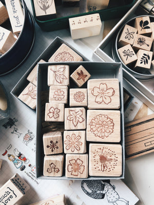 Ncnc Handmade Floral Rubber Stamps (set of 13)