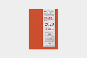 Traveler's Notebook Refill 2020 Monthly - Passport Size
