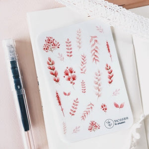 Labiri Loose Pink Watercolour Leaves Transparent Stickers