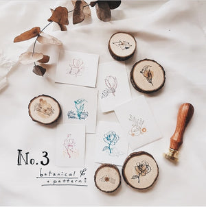 Nove No.3 Botanical + Pattern Rubber Stamps (set A-F)