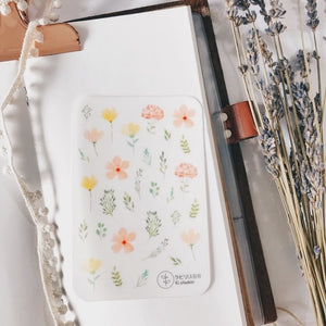Labiri Yellow Pink Floral Transparent Stickers