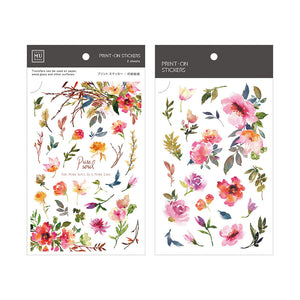 MU Print-On Stickers-069 Red Spring Flowers
