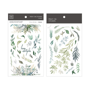 MU Print-On Stickers-074 Green Botanical Leaves