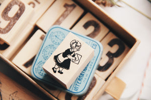 Krimgen Girl with Letter Rubber Stamp