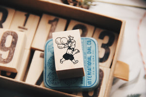 Krimgen Girl with Balloons Rubber Stamp