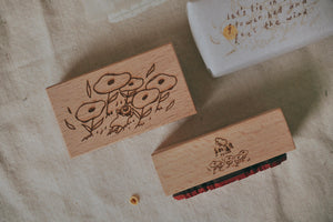 bighands Girl in Flower Bed: Feel the Wind Rubber Stamp