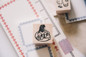 Teacup Girl Rubber Stamp