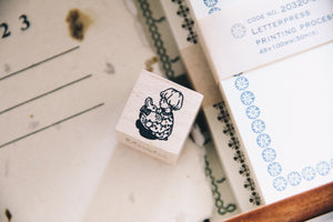Boy with Bunny Rubber Stamp