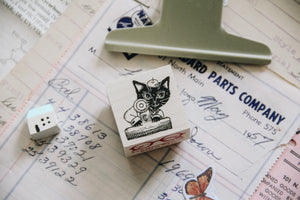 Chat Noir Papeterie: Max the Black Cat Rubber Stamp