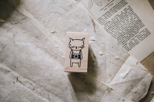 Catslife Press Camera Cat Rubber Stamp