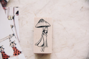 Mushrooms and Dwarfs: Bonnet Girl Rubber Stamp