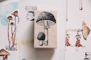 Mushrooms and Dwarfs: Fly Agaric Rubber Stamp