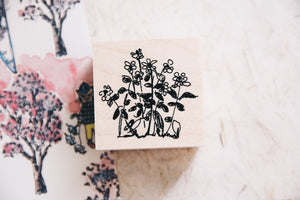 Cats in Garden: Margaret Rubber Stamp